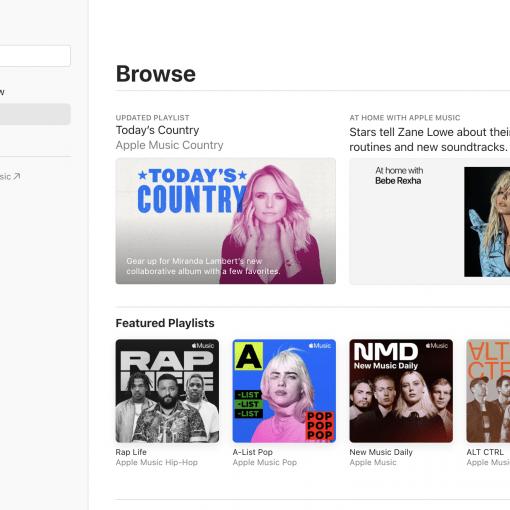 Apple Music homepage
